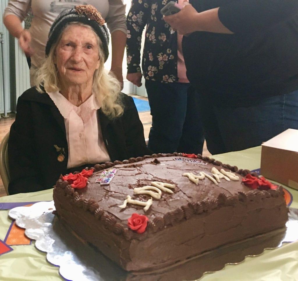 Ida Mae Reemes with birthday cake